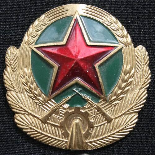 значок на металлический или матерчатый знак на шляпе у военных и граждан
