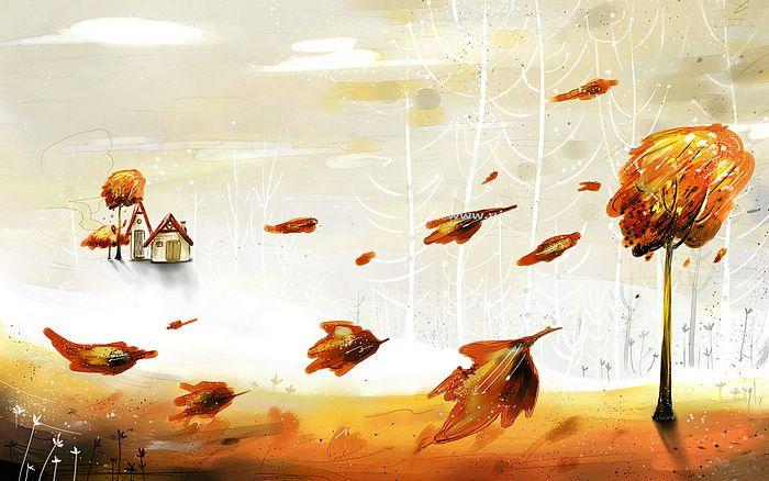 Тихие творения.. Vector_autumn_illustration_ViewIllustrator_1010