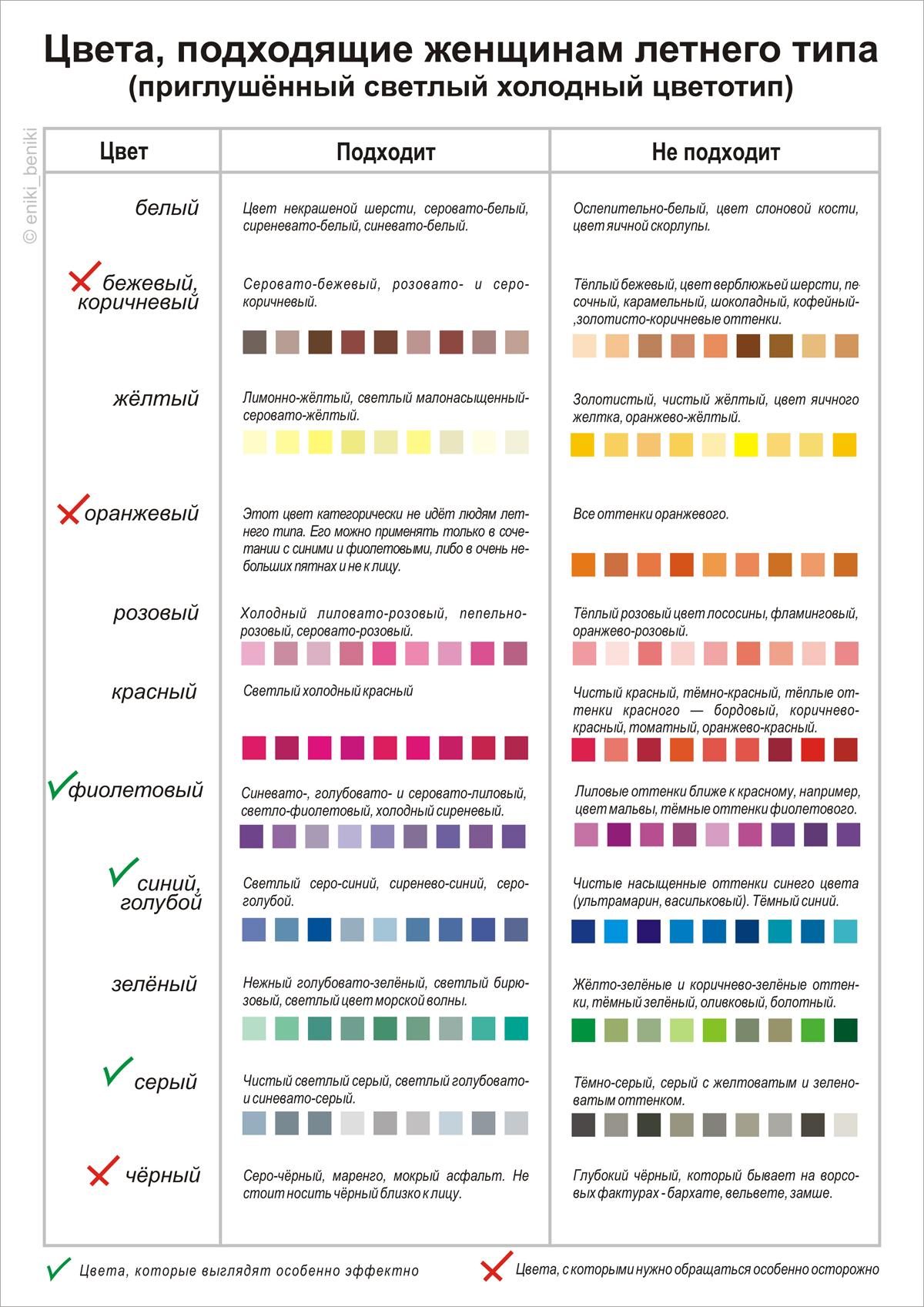 Цветовая политра для цветотипа зима