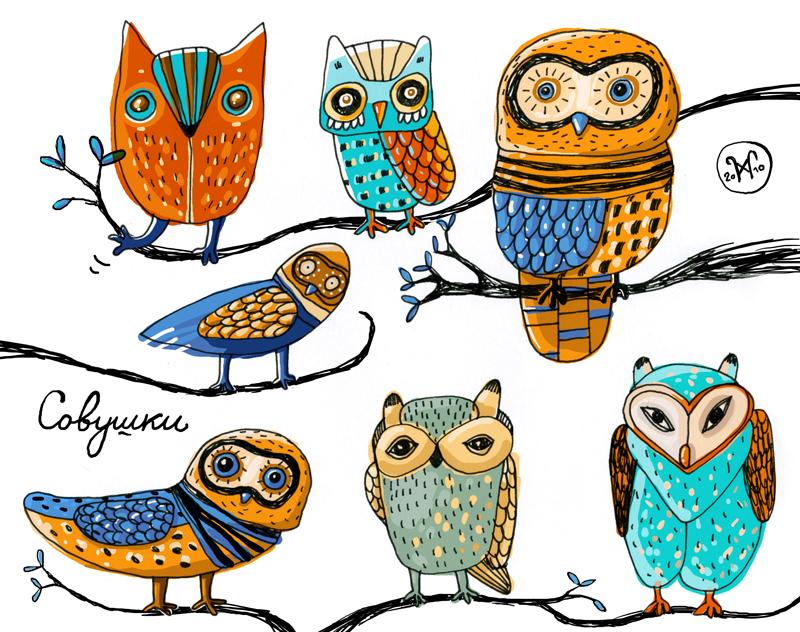 Забавная сова на рисунках