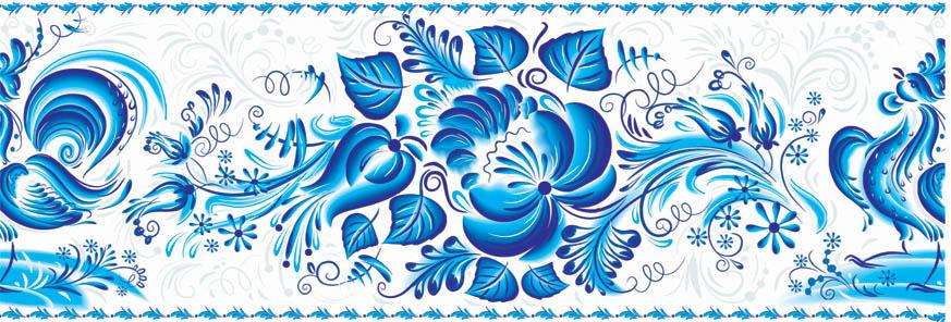 """Схема вышивки  """"Гжель цветы 2 """" ."""