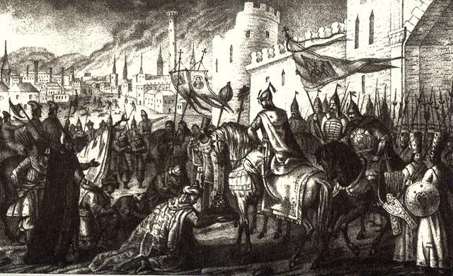 Взятие Казани. Русское войско вошло в город. Вместо Али-хана посажен