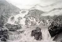 Алтай. Водопад Чульча. 2006, бумага, гр.карандаш, 35х50 см.