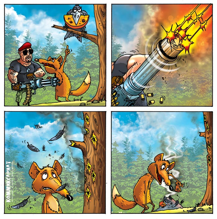 Ворона и лисица смешные картинки, позитив